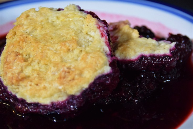 Stardew Valley close-up of blackberry cobbler portion on a white and blue plate