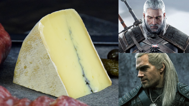 A picture of a wedge of golden cheese with a streak of ash down the middle, next to pictures of a white haired man in dark armor