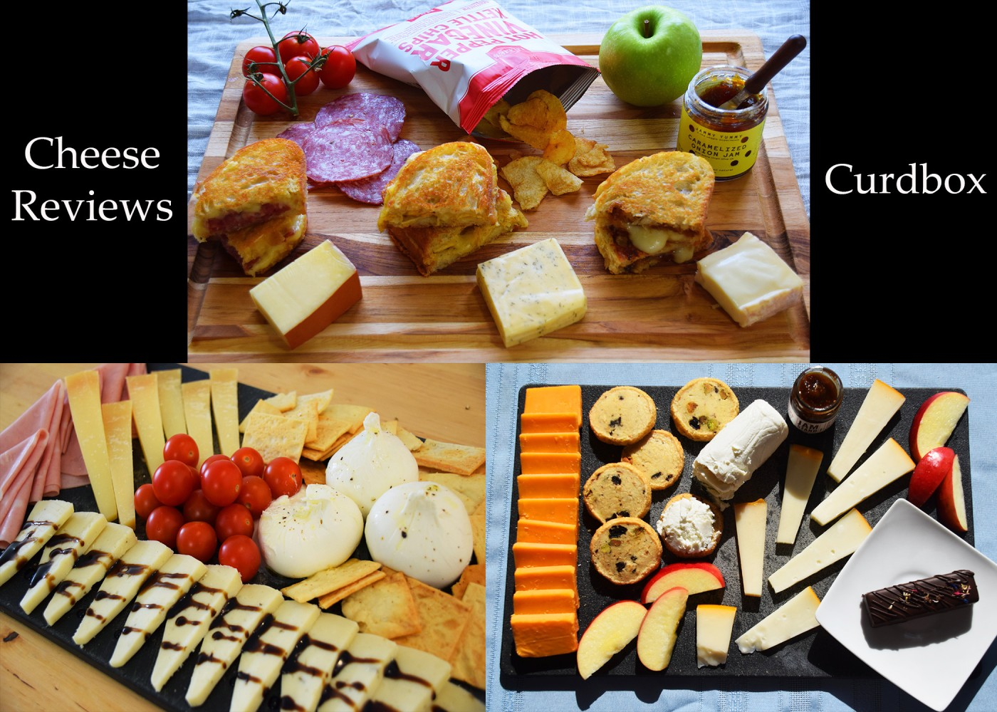 Three images of cheese boards on a black background